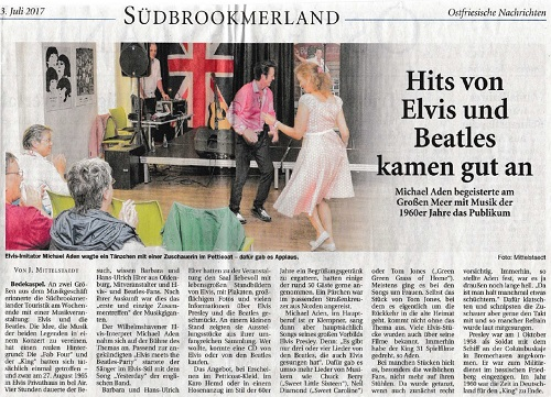 Zeitungsartikel zu Elvis meets The Beatles